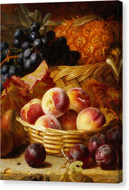 Fruit Baskets Canvas Print - Peaches, Plums, Pears And Pineapple by Eloise Harriet Stannard