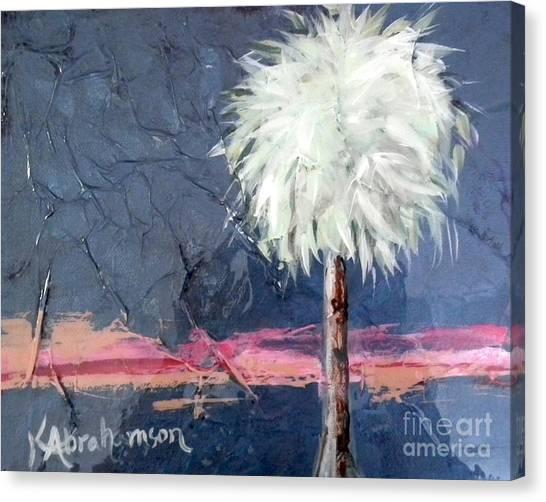 Peachy Horizons Palm Tree Canvas Print
