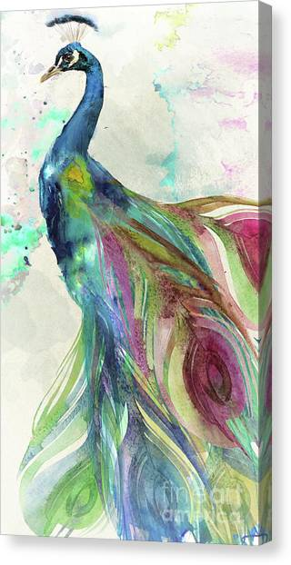 Peacocks Canvas Print - Peacock Dress by Mindy Sommers