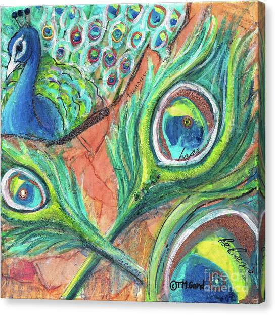 Canvas Print featuring the painting Peacock Feathers by TM Gand