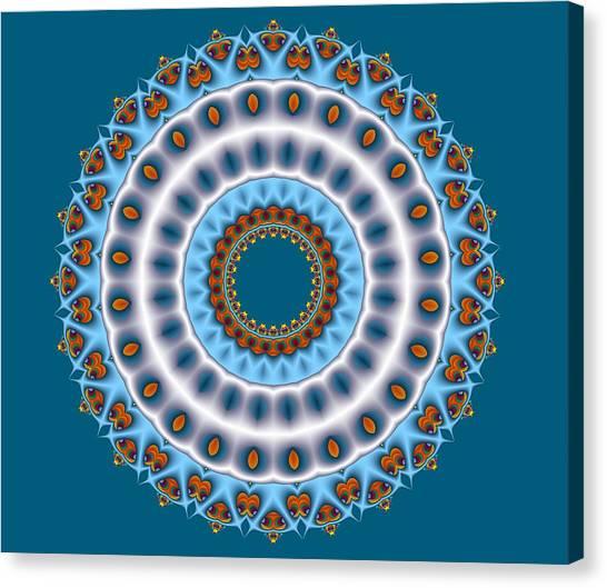 Peacock Fractal Mandala I Canvas Print