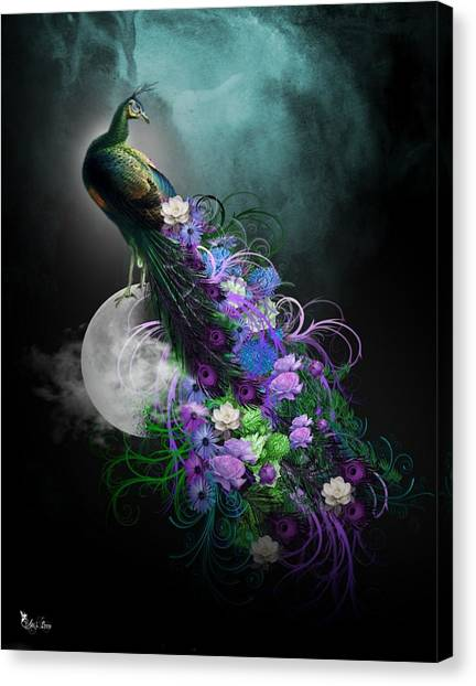 Peacock Of  Flowers Canvas Print