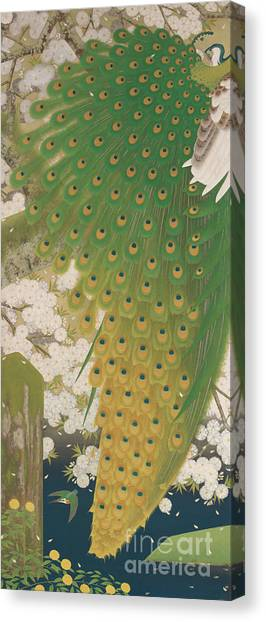 Blooming Tree Canvas Print - Peacocks And Cherry Tree by Japanese School