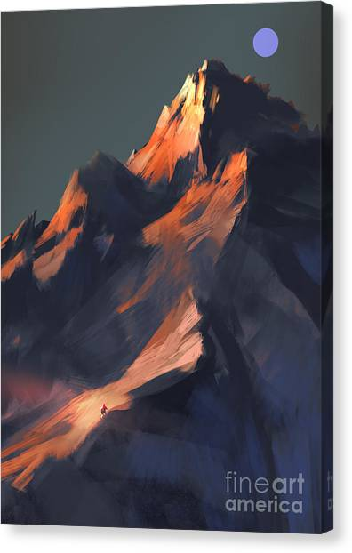 Canvas Print featuring the painting Peak by Tithi Luadthong