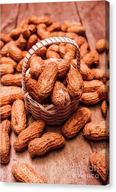 Nature Still Life Canvas Print - Peanuts In Tiny Basket In Close-up by Jorgo Photography - Wall Art Gallery