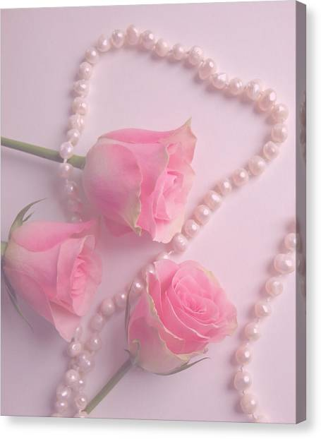 Pearls And Roses Canvas Print