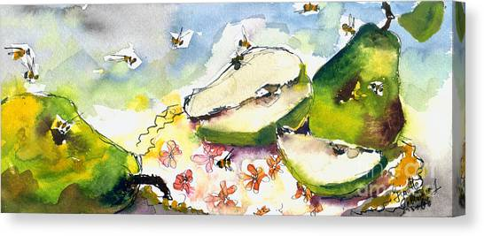 Pears And Bees  Canvas Print by Ginette Callaway