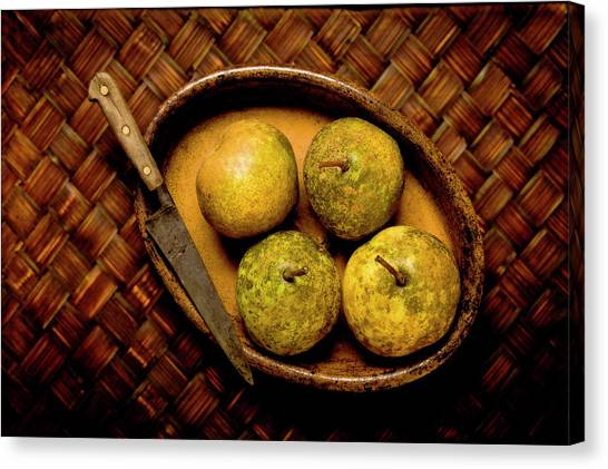 Pears And Dish Canvas Print
