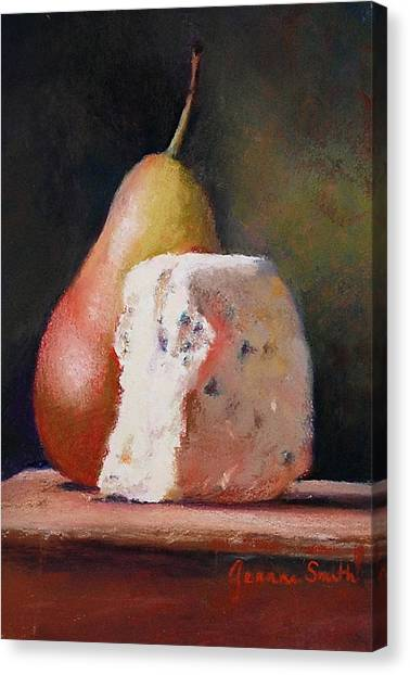 Pears And Gorgonzola Canvas Print by Jeanne Rosier Smith