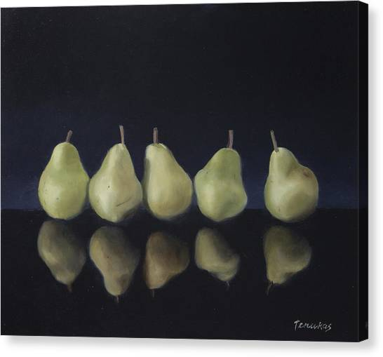 Pears In Black Canvas Print