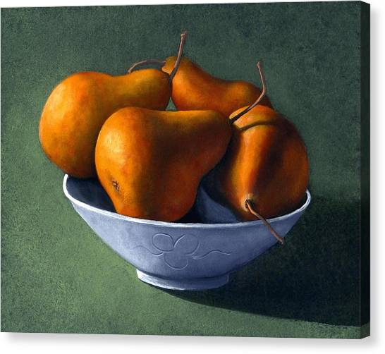 Mother Canvas Print - Pears In Blue Bowl by Frank Wilson
