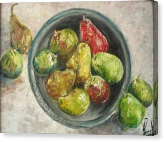 Pears In Bowl Canvas Print by Carol P Kingsley