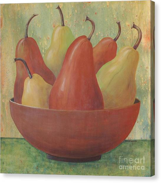Pears In Copper Bowl Canvas Print