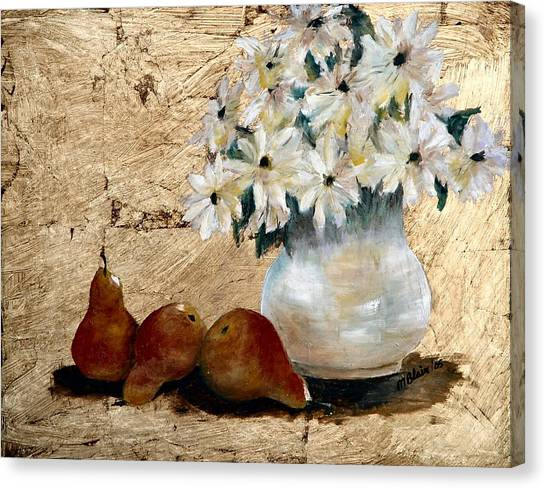 Pears On Gold Canvas Print by Merle Blair