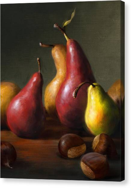 Pears With Chestnuts Canvas Print