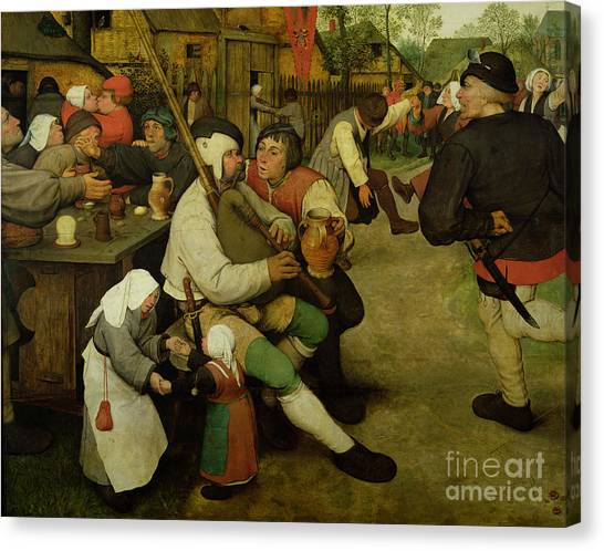 Bagpipes Canvas Print - Peasant Dance by Pieter the Elder Bruegel
