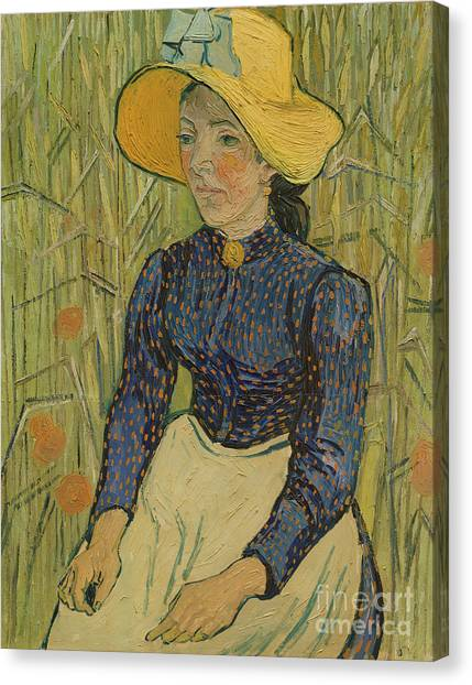 Vincent Van Gogh Canvas Print - Peasant Girl In Straw Hat by Vincent van Gogh