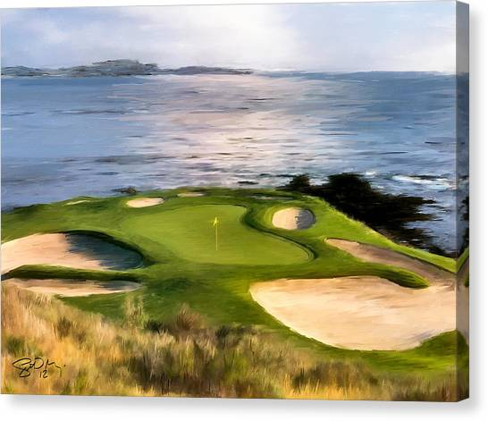 Courses Canvas Print - Pebble Beach No.7 by Scott Melby