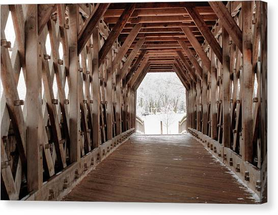 Pedestrian Lattice Bridge Canvas Print