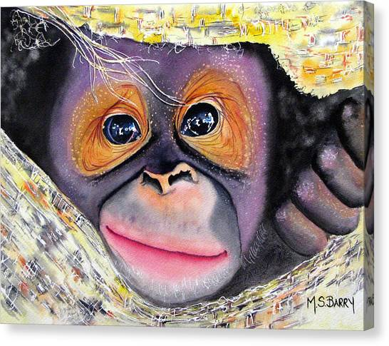 Orangutan Canvas Print - Peek A Boo by Maria Barry