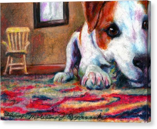 Peeking Piper Canvas Print by Melissa J Szymanski