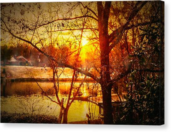 Peeking Through - Lake Sunrise Canvas Print by Barry Jones