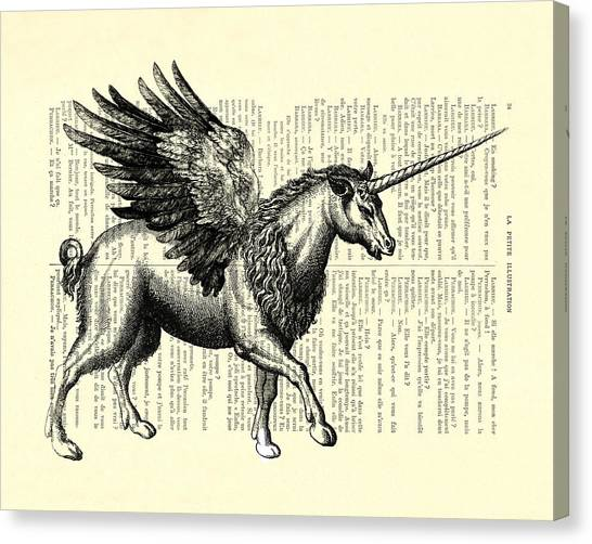 White Horse Canvas Print - Pegasus Black And White by Madame Memento