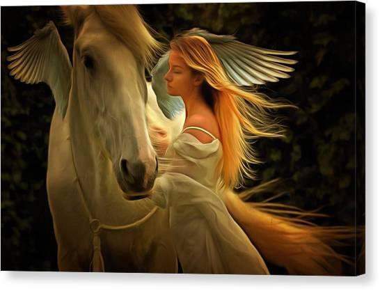 Pegasus Or Angel Canvas Print