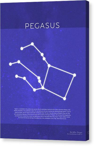 Pegasus Canvas Print - Pegasus The Constellations Minimalist Series 11 by Design Turnpike