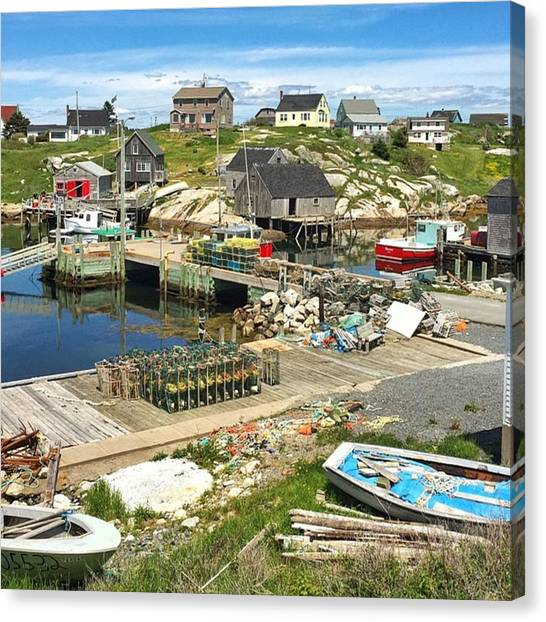 Fishing Boats Canvas Print - Peggy's Cove Fishing Huts, Boats And by Katie Farquhar