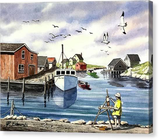 Nova Scotia Canvas Print - Peggy's Cove Harbor by Raymond Edmonds
