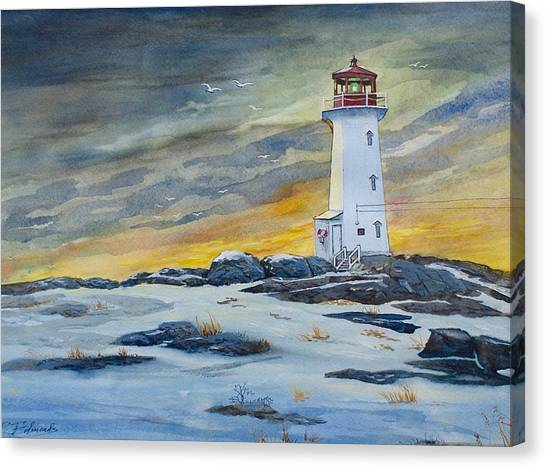 Nova Scotia Canvas Print - Peggy's Cove Lighthouse by Raymond Edmonds