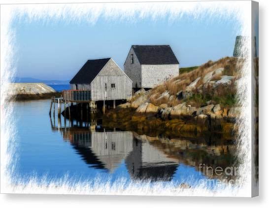Peggys Cove Marina With Fishing Houses  Canvas Print