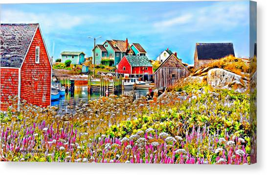 Peggy's Cove Wildflower Harbour Canvas Print