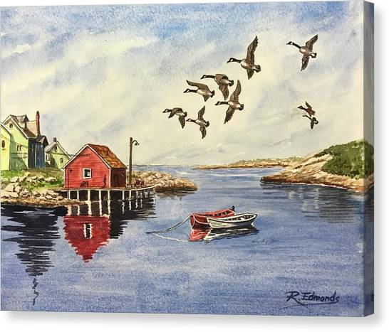 Nova Scotia Canvas Print - Peggy's Cove With Geese by Raymond Edmonds