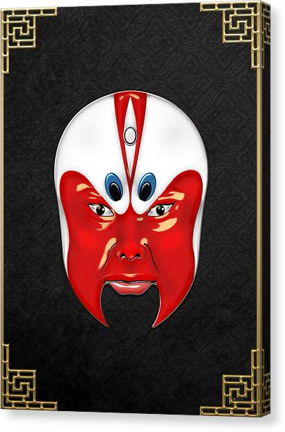 Face Canvas Print - Peking Opera Masks - Wen Zhong by Serge Averbukh