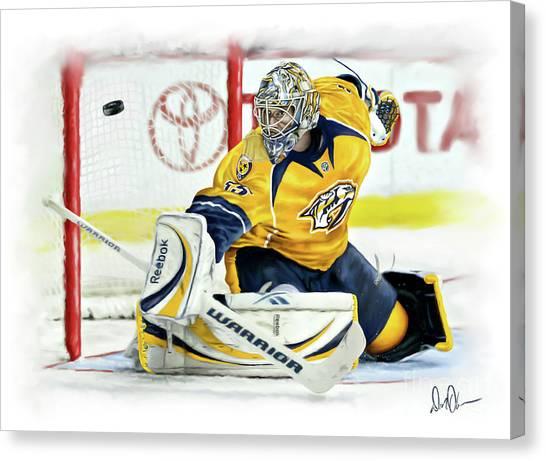 Nashville Predators Canvas Print - Pekka Rinne II by Don Olea