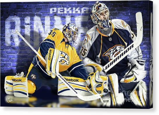 Nashville Predators Canvas Print - Pekka Rinne IIi by Don Olea