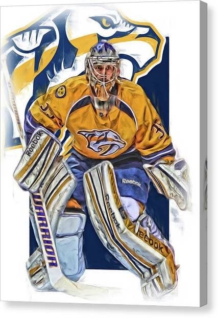 Nashville Predators Canvas Print - Pekka Rinne Nashville Predators by Joe Hamilton