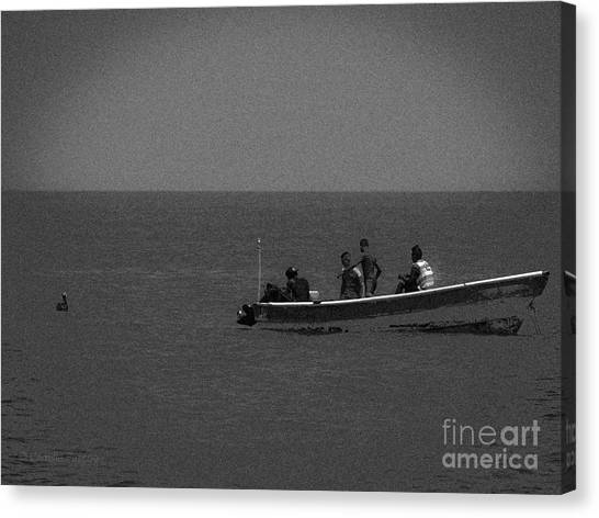 Pelican And The Fishing Boat Canvas Print