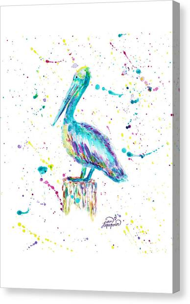 Pelican By Jan Marvin Canvas Print
