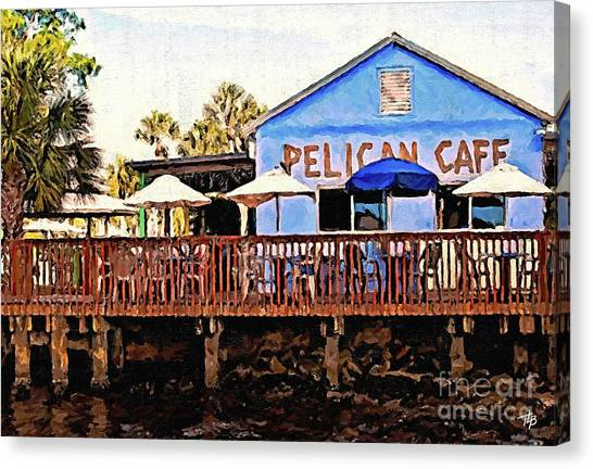 St. Lucie County Canvas Print - Pelican Cafe by Tammy Lee Bradley