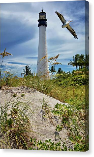 Pelican Flying Over Cape Florida Lighthouse Canvas Print