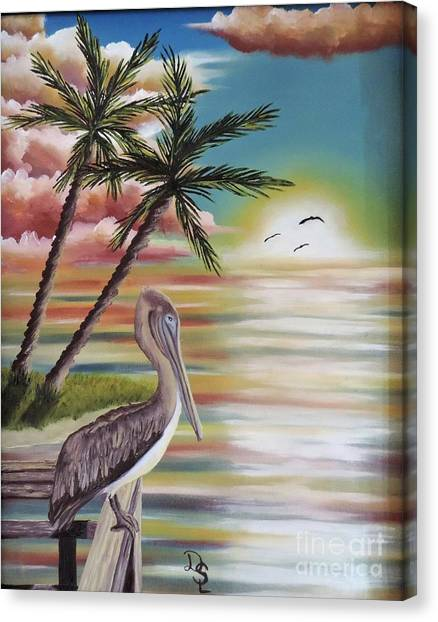 Pelican Sunset Canvas Print