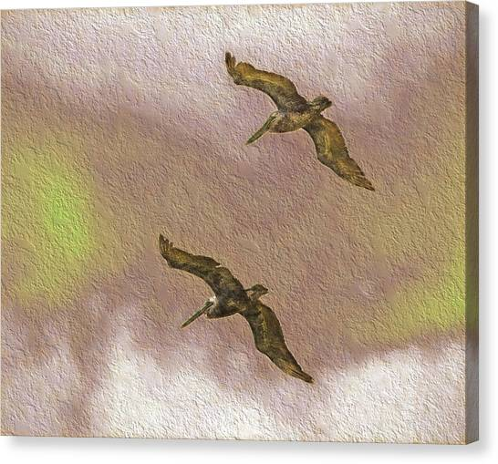 Pelicans On Cave Wall Canvas Print