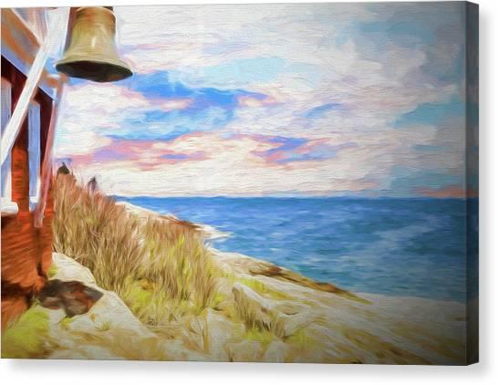 Pemaquid Lighthouse Bell On Maine Rocky Coast. Canvas Print