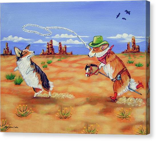 Lassos Canvas Print - Pembroke Welsh Corgi Opie Gets A Date by Lyn Cook
