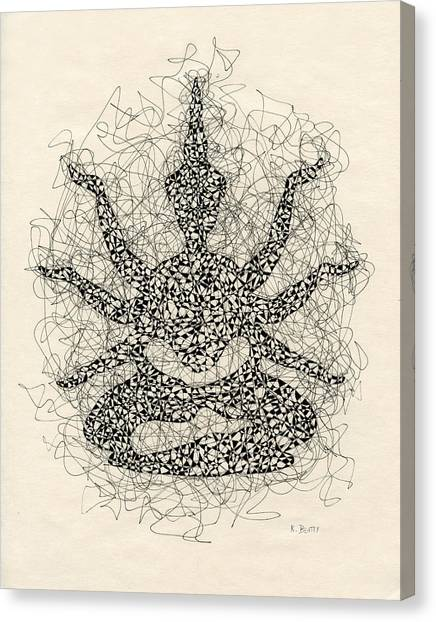 Pen And Ink Drawing Buddha  Canvas Print