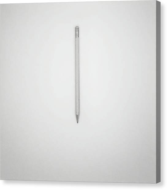 Black And White Art Canvas Print - Pencil On A Blank Page by Scott Norris