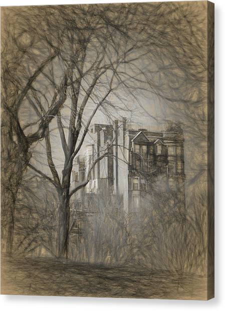 Pencil Sketch Of Beacon Hill Canvas Print